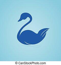 swan swimming in the water, symbol. icon design, illustration