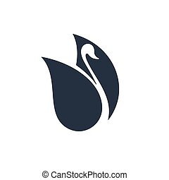 Swan with negative space, vector illustration