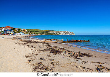 Swanage Beach Dorset England UK - Blue sky and golden sandy...