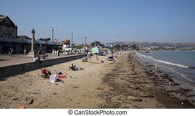 Swanage beach Dorset England UK PAN