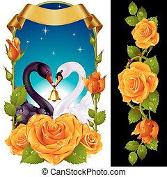 Swans and yellow Roses
