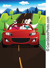 Swans going on a road trip - A vector illustration of group...