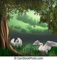 swans in the moonlight - 3d render