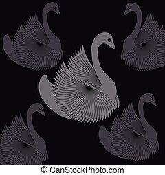Swans on black background