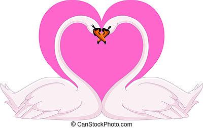 Swans valentine - Two loving swans
