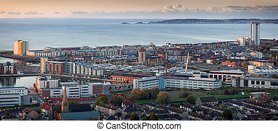 A morning view of Swansea city centre, UK, and the Bay area, taken from Kilvey Hill