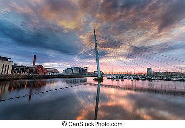 Swansea marina and Millennium bridge
