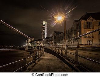 Swansea promenade at night