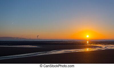 swansea, sandstrand, sonnenaufgang