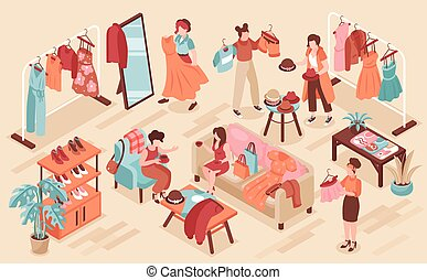 Swap party background with clothes and fashion symbols isometric vector illustration