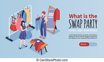Swap party banner with rules and tips symbols isometric vector illustration