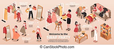 Swap party infographic set with clothes exchange symbols isometric vector illustration