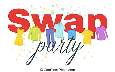 Swap party vector web banner template. Clothes, costumes exchanging event invitation. Volunteering, donation, charity flat poster with calligraphy. Casual jeans, summer dress, shirts illustration