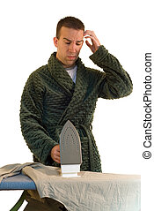 Swapping Chores - A man looking confused at how to do the...