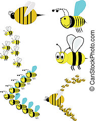 swarm of bee in variety of designs