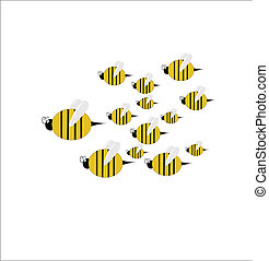 swarm of bees with queen leading in flight on white clip art