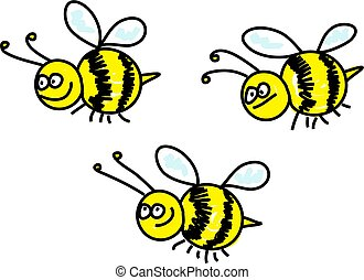 bees - swarm of busy bumble bees - animal art series