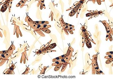 Swarm of locusts attacking rice crop seamless pattern. ...