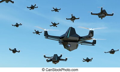 Swarm of security drones with surveillance camera flying in the sky