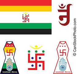 swastica, bandera, jain, emblema