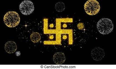 swastika, saint, firework., doré, swastika, religion, indien...