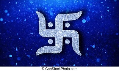Swastika Symbol Element Blinking Icon Particles Greetings,...
