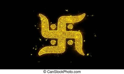 Swastika Symbol Typography Written with Golden Particles...