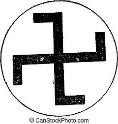 Swastika, vintage engraving. - Swastika, vintage engraved...