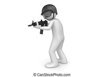 SWAT assault - 3d characters isolated on white background...