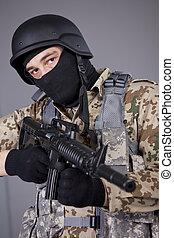 SWAT Commander with machine gun