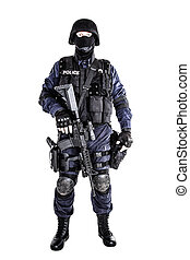 SWAT officer - Special weapons and tactics (SWAT) team...