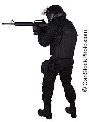 SWAT officer with assault rifle in black uniform