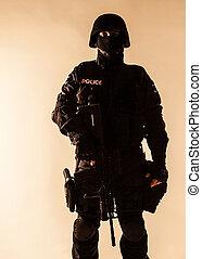 swat, officier, backlit