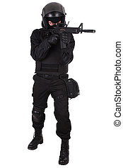 swat, offizier, in, schwarze uniform