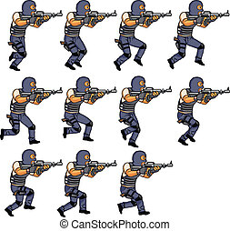swat, rennende , animatie, officier