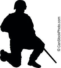 SWAT sniper standing on one knee vector silhouette