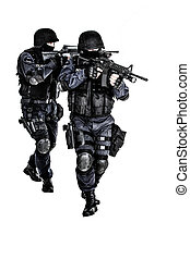 SWAT team in action - Special weapons and tactics team in...