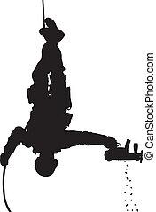 SWAT team soldier vector silhouette - SWAT team soldier...