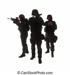 SWAT team - Silhouettes of special weapons and tactics...