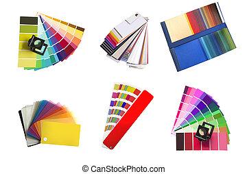 swatches, farben, verschieden, auswahl