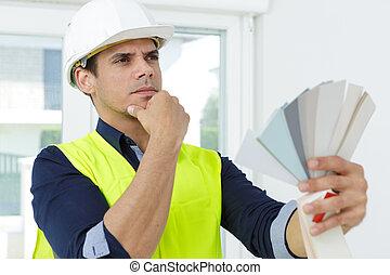 swatches, inneneinrichtung, besitz, entwerfer, farbe