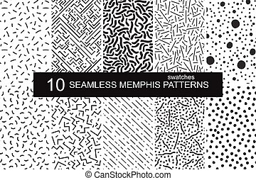 Swatches memphis patterns - seamless. Retro fashion style 80-90s.