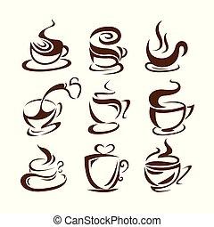 sway., americano, ontwerp, logo, koppen, abstract., bean., ...