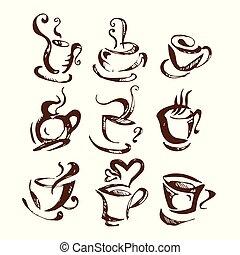 sway., americano, ontwerp, logo, koppen, abstract., bean.,...