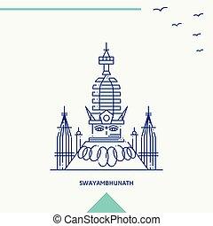 swayambhunath, スカイライン, ベクトル, イラスト