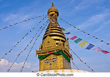 Swayambhunath Buddhist stupa. Kathmandu, Nepal
