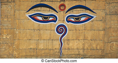 Swayambhunath Eyes - Buddha eyes painted on Swayambhunath...