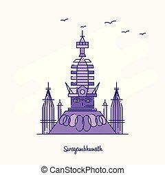 SWAYAMBHUNATH Landmark Purple Dotted Line skyline vector illustration