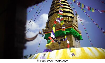 Swayambhunath stupa Eye Buddha in Kathmandu Nepal Video 4K...