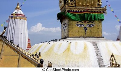 Swayambhunath stupa in Kathmandu, also called Monkey Temple, Nepal